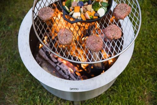 Double Flame 24 Stainless Fire Pit & Outpost Grill