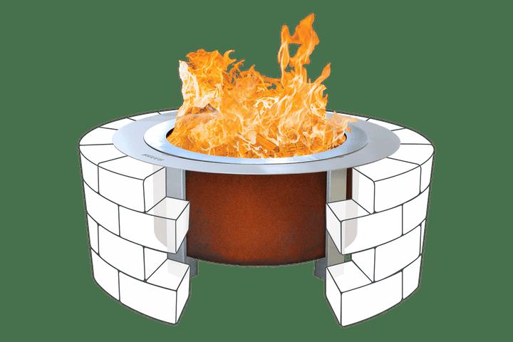 Corten X Series 24 Smokeless Fire Pit Standard Rim with Insert Ring