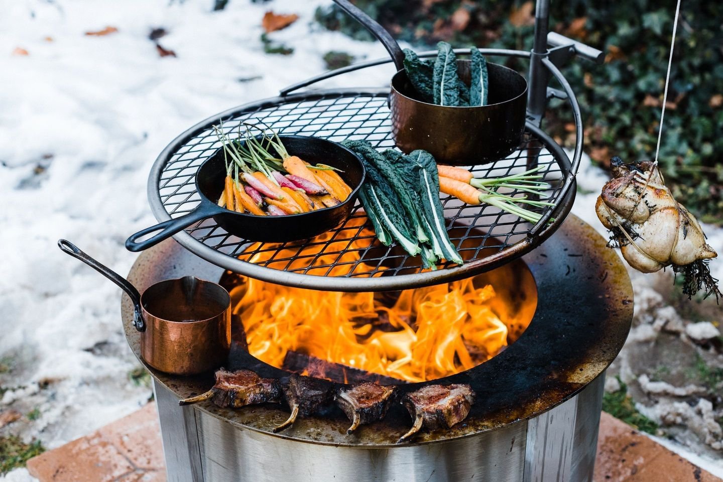 Cooking Meat and Vegetables on Fire Pit