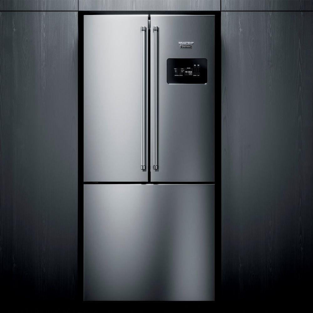 Geladeira Brastemp Gourmand Frost Free Side Inverse 540 litros Inox com Ice Maker