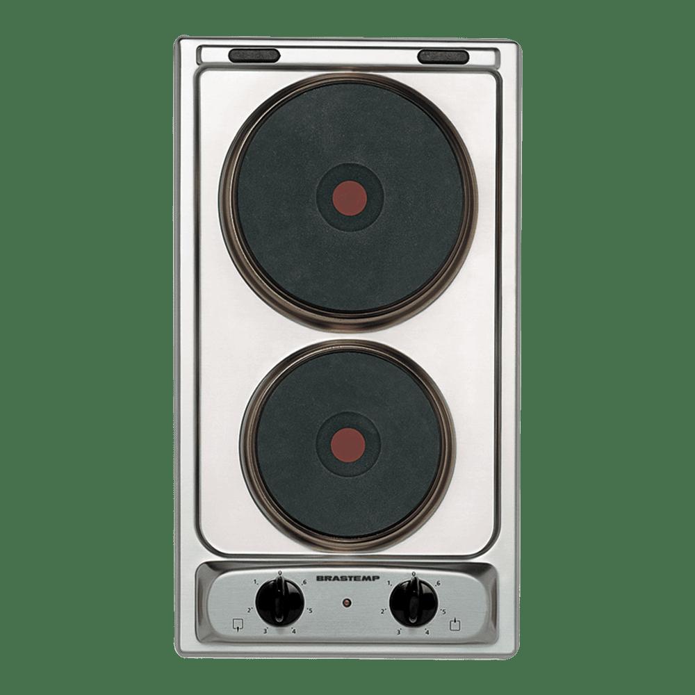 Cooktop 2 bocas elétrico dominó Brastemp inox com Acendimento Automático - BDG30AR