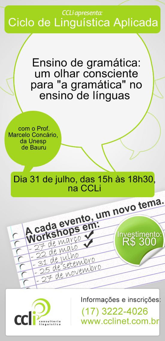Vem aí o 3º Workshop do Ciclo de Linguística Aplicada