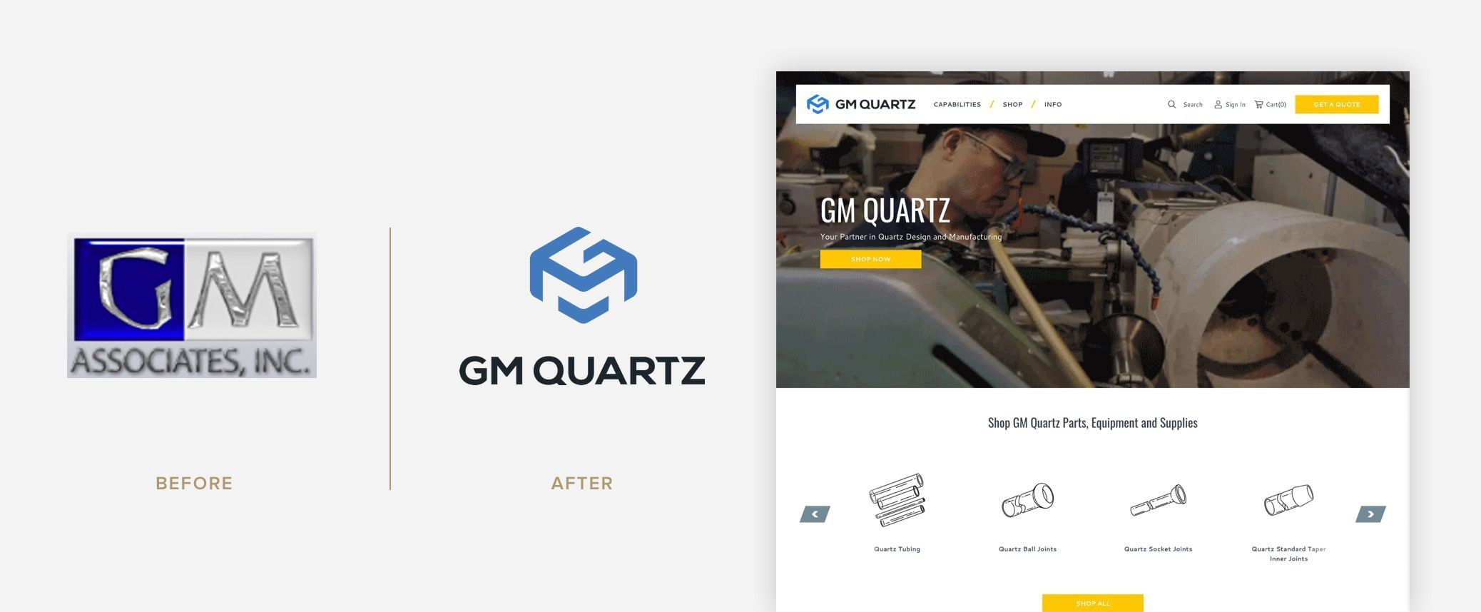 GM Quartz - Logo Before & After