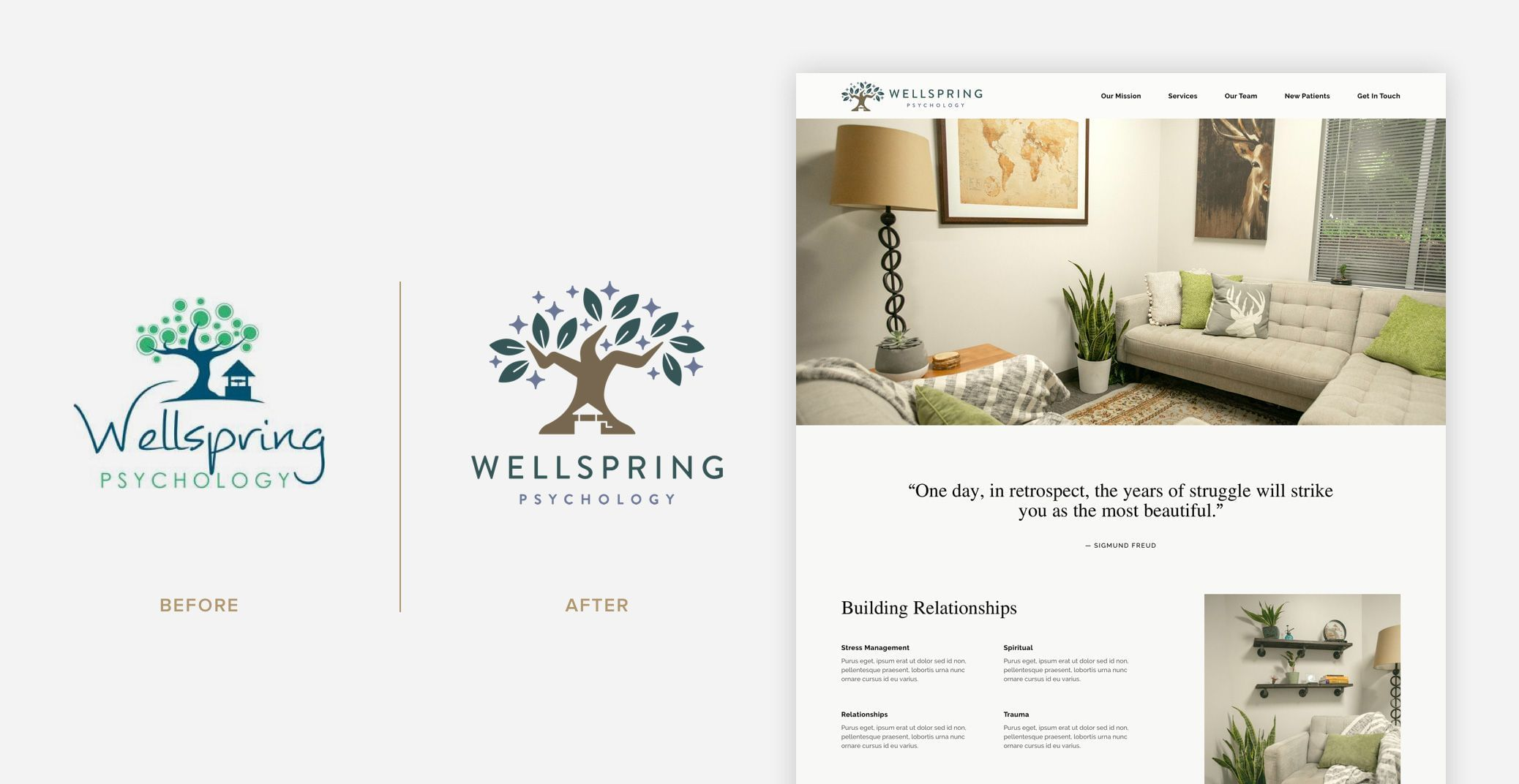 Wellspring Psychology - Logo Before & After