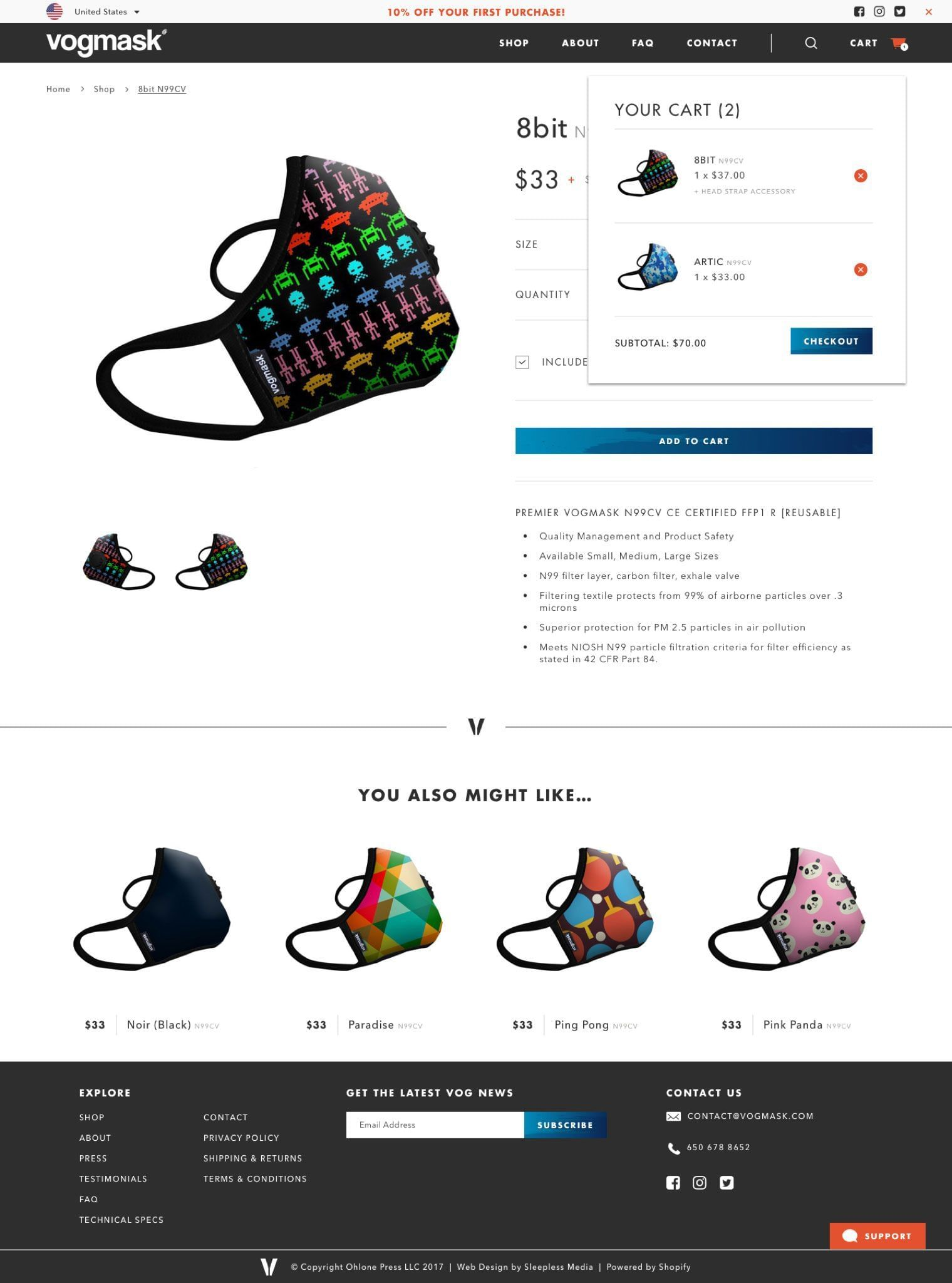 Vogmask Product Page