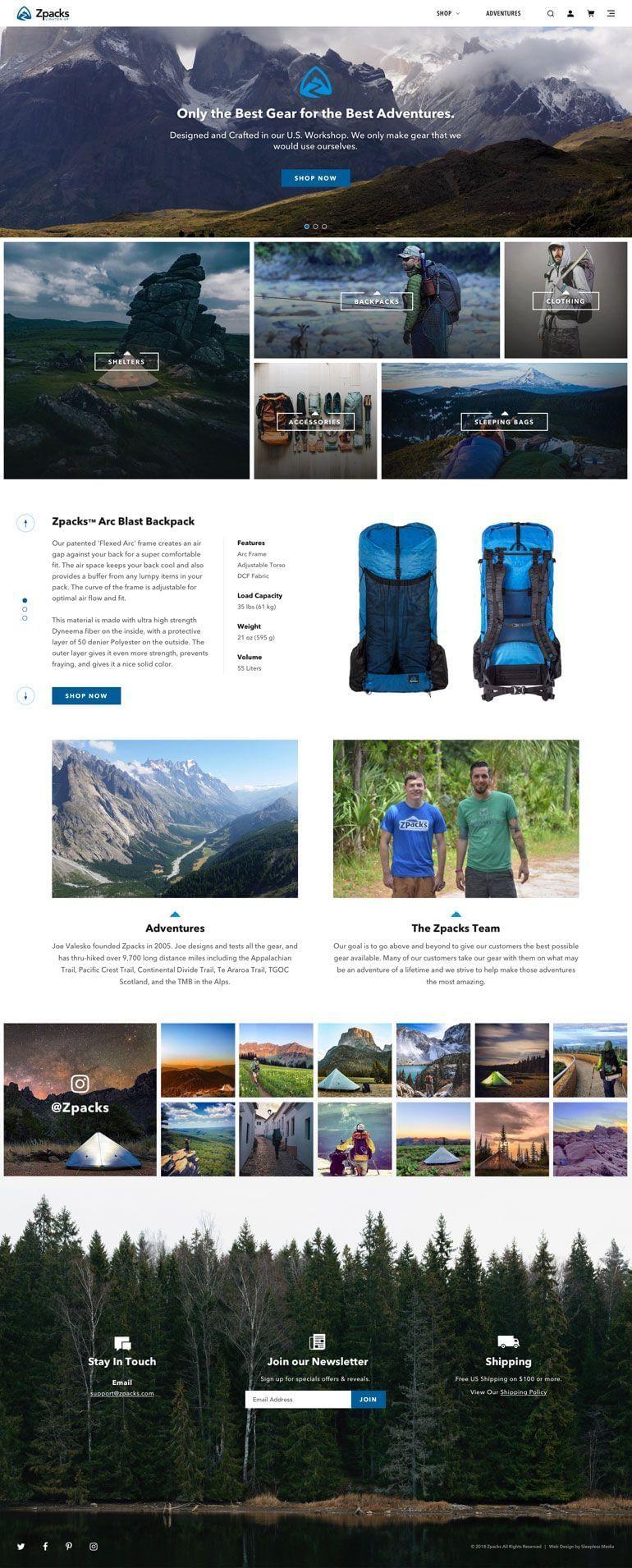 Zpacks Homepage