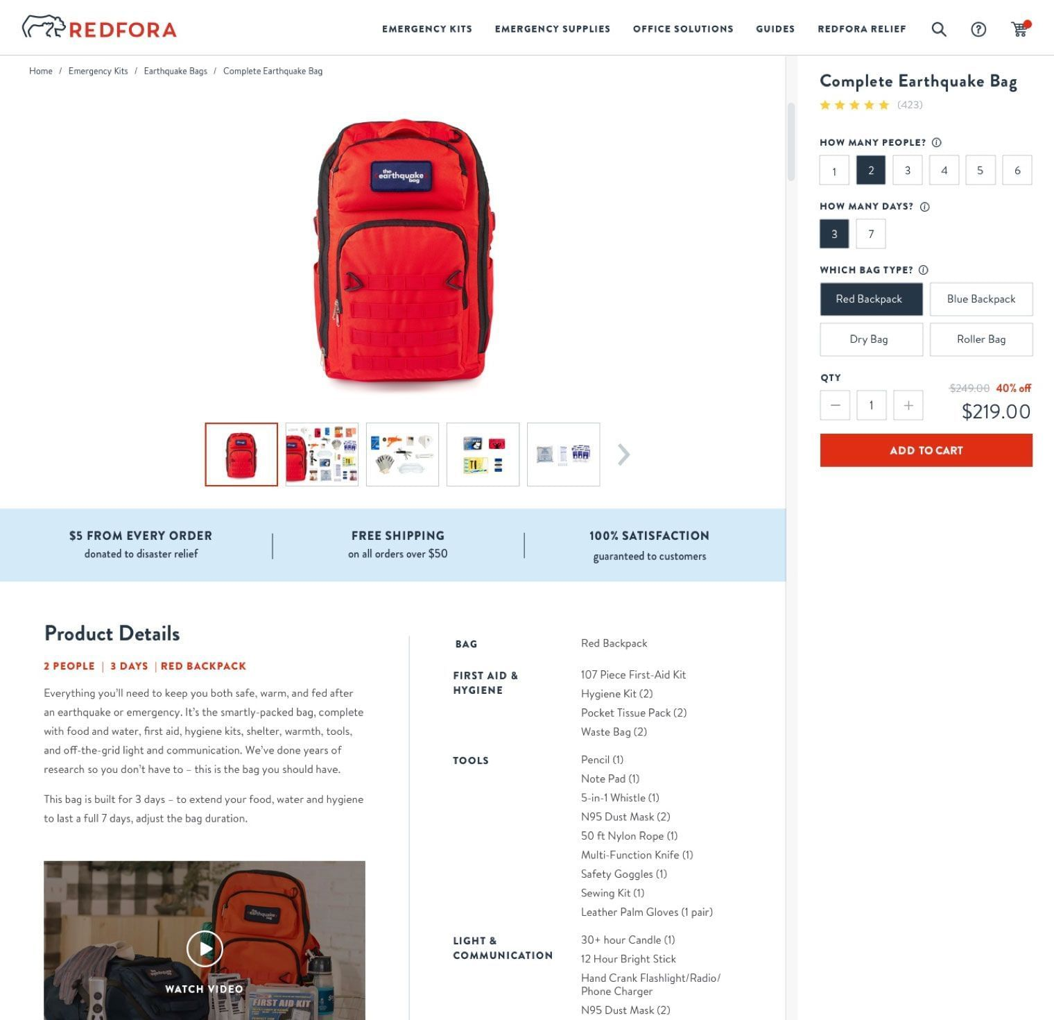 Redfora Product Page