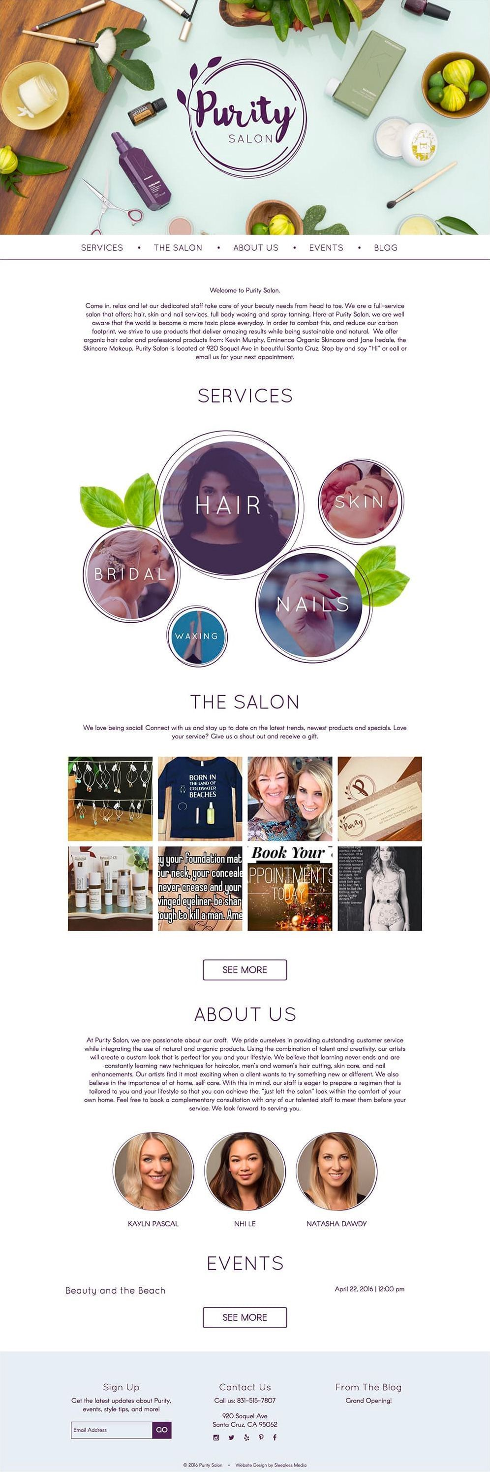 Purity Salon Homepage