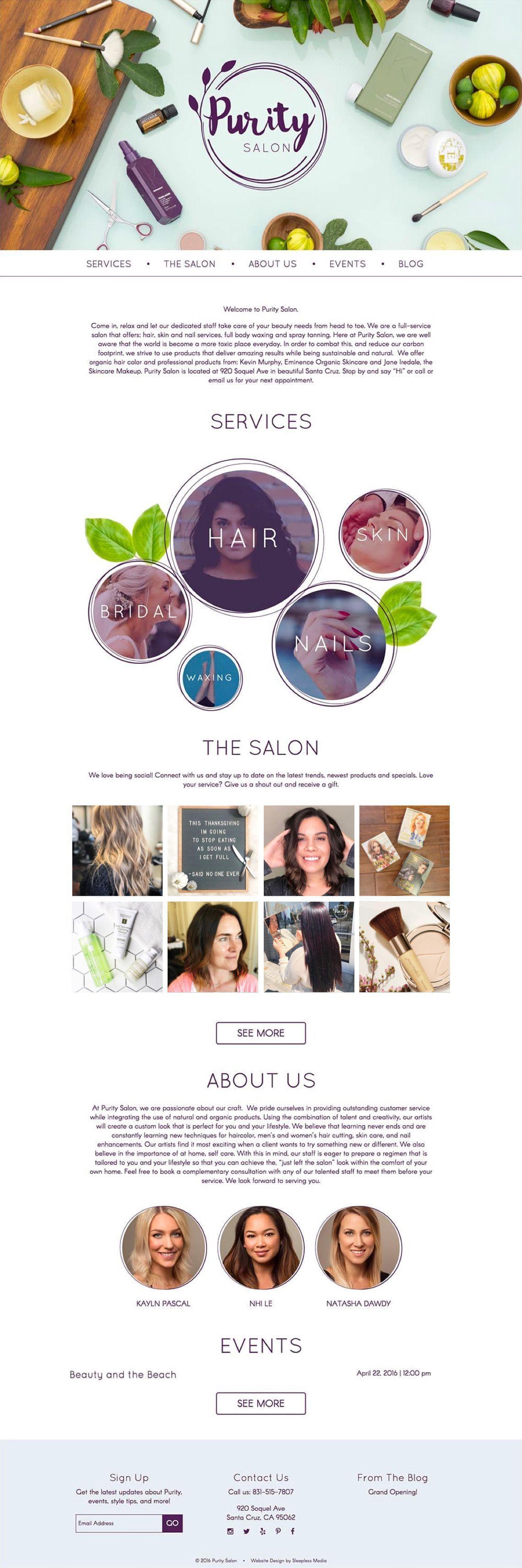 Purity Salon - Website