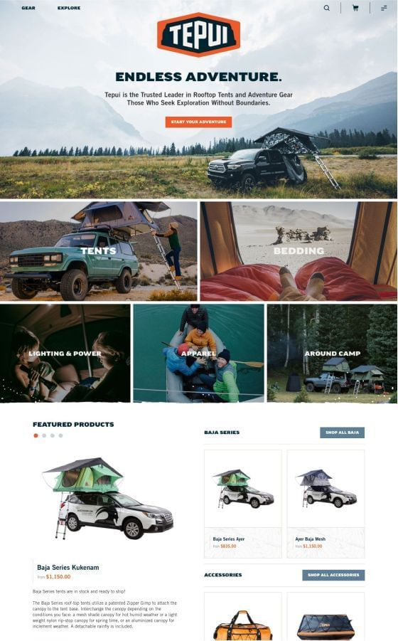 Tepui Website Design on Shopify Plus