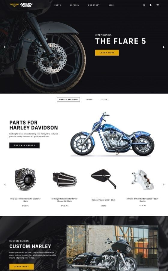 Arlen Ness Motorcycles Shopify Plus Design