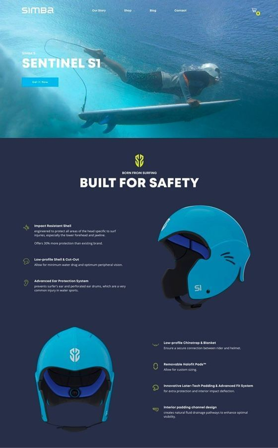 Simba Surf Helmets Shopify Theme Design