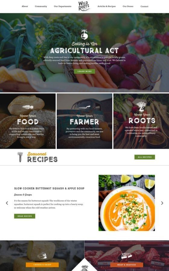 Wild Roots Natural Market WordPress Website Design
