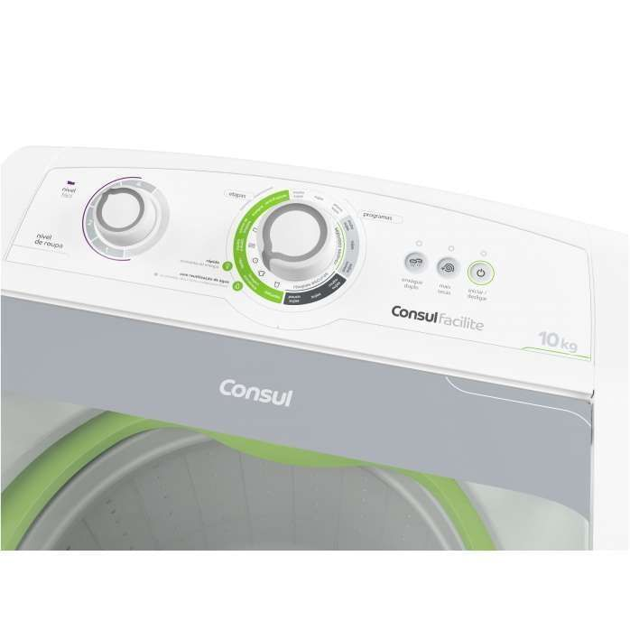 Máquina de Lavar 10kg Branca - Lavadora de Roupas 10kg Consul CWE10AB - Vista do Painel de Utilização