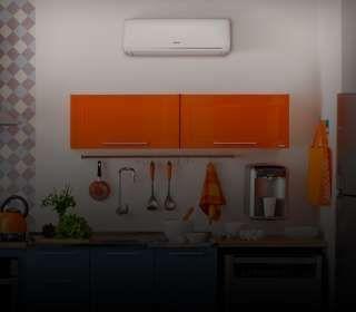 Cozinha com ar-condicionado