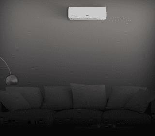 Ar-condicionado instalado na sala