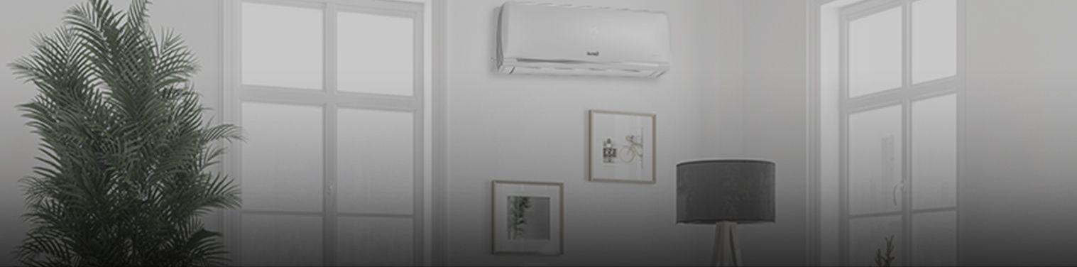 banner de ambiente com ar-condicionado congelando