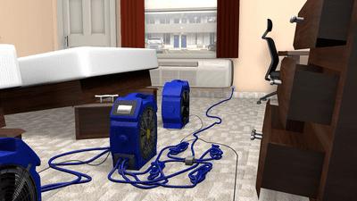 bedbug heater set up using a PTAC Splitter