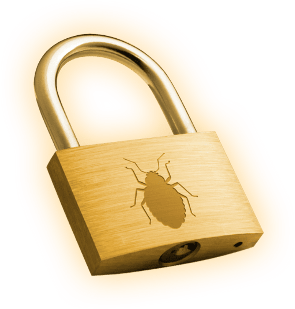 pad lock with bedbug graphic. Lock in your bed bug budgets