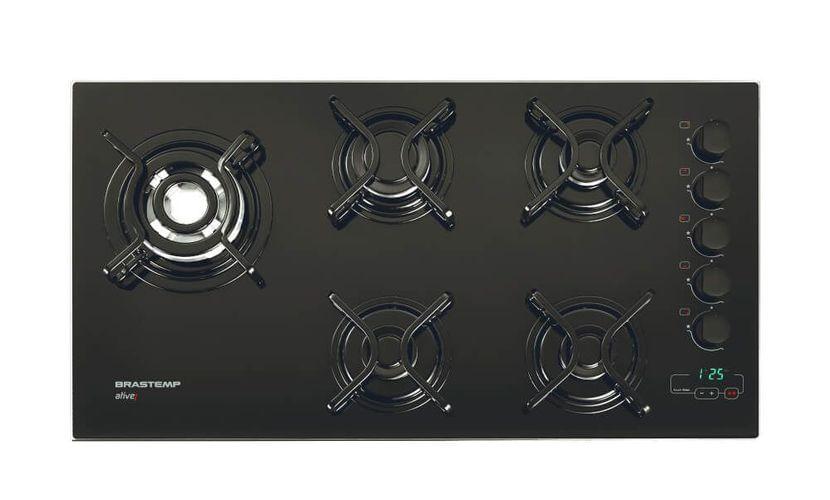 bd90f1ddc Cooktop 5 bocas Brastemp com quadrichama e timer touch