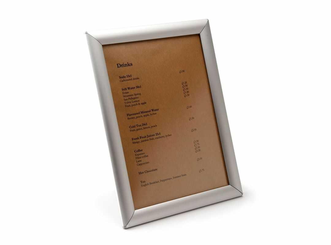 MEN012 - A4 Freestanding Anodised Grip Frame