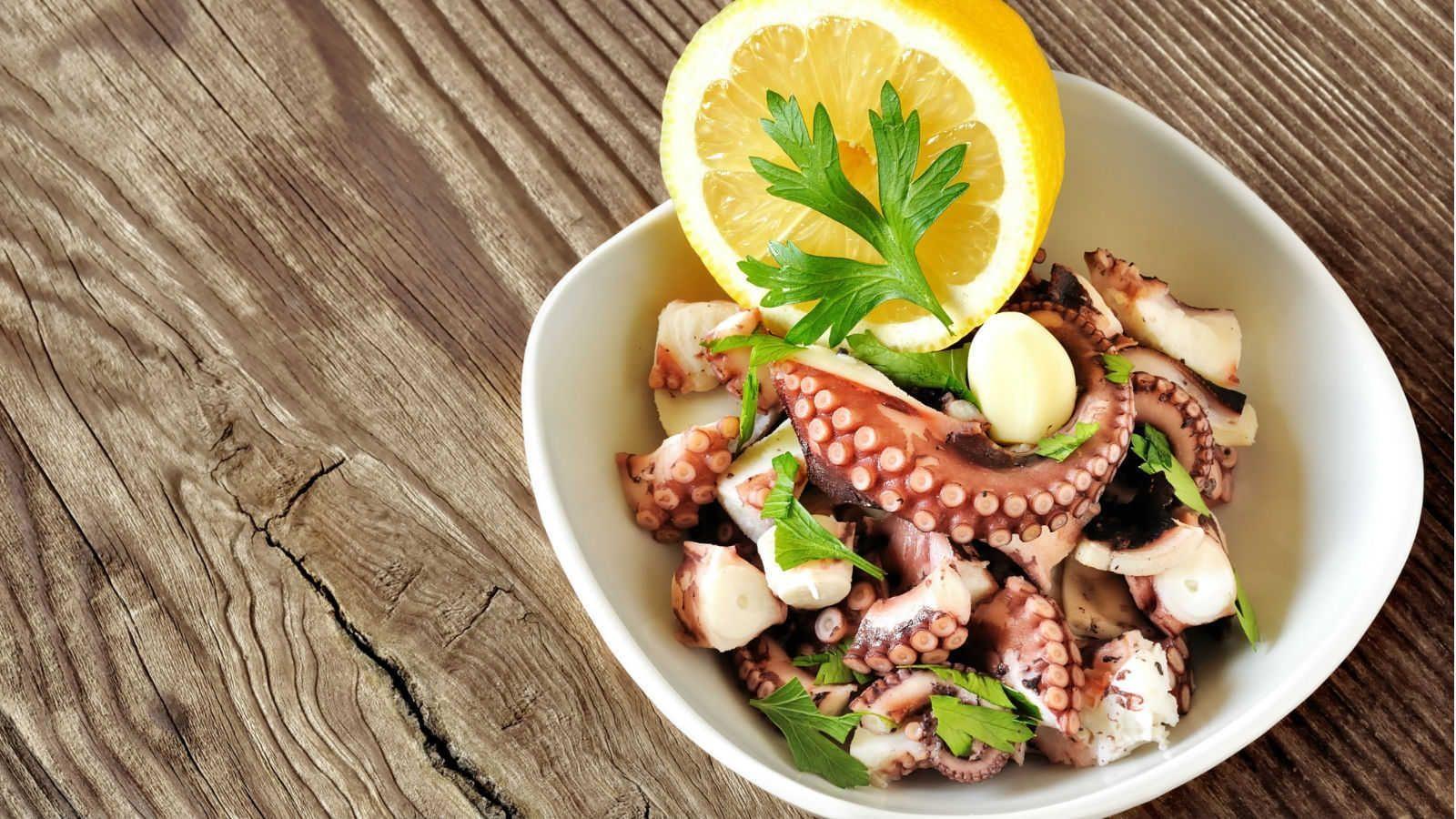 O polvo tem o cozimento mais lento entre os frutos do mar
