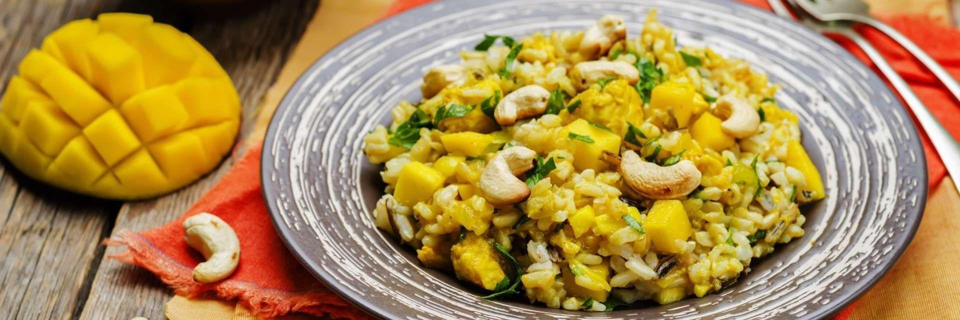 arroz natalino com aspargos e manga