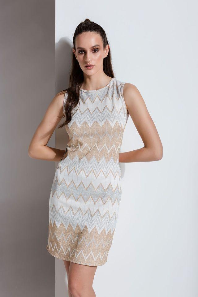 Pencil φόρεμα με μεταλλικούς ρόμβους