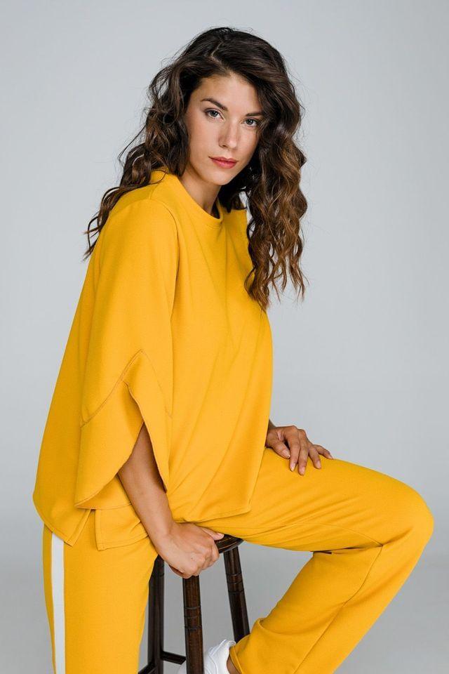 Κίτρινη μπλούζα με βολάν