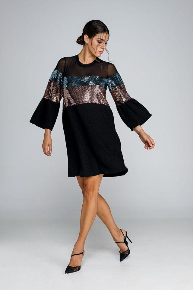 Μαύρο φόρεμα με παγιέτα