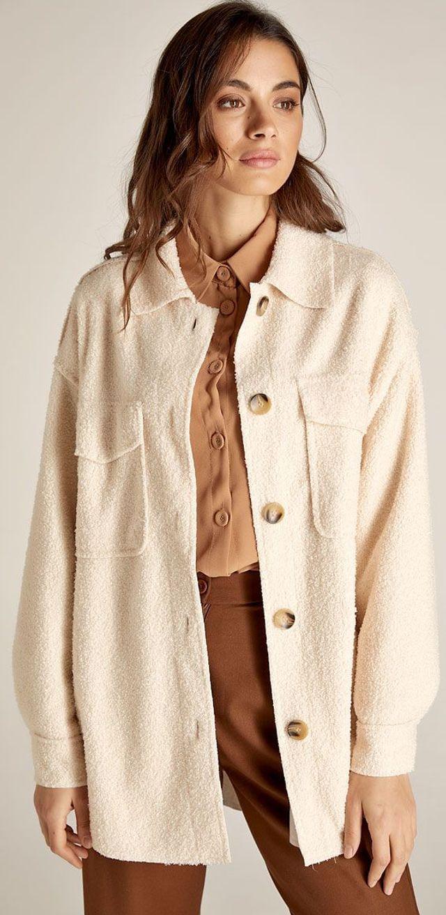 Εκρού jacket με γιακά